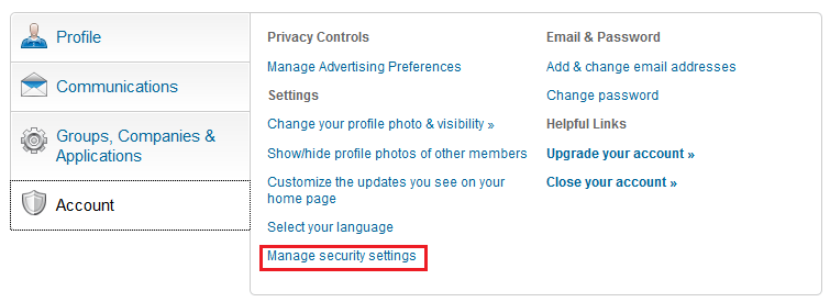 linkedin security settings