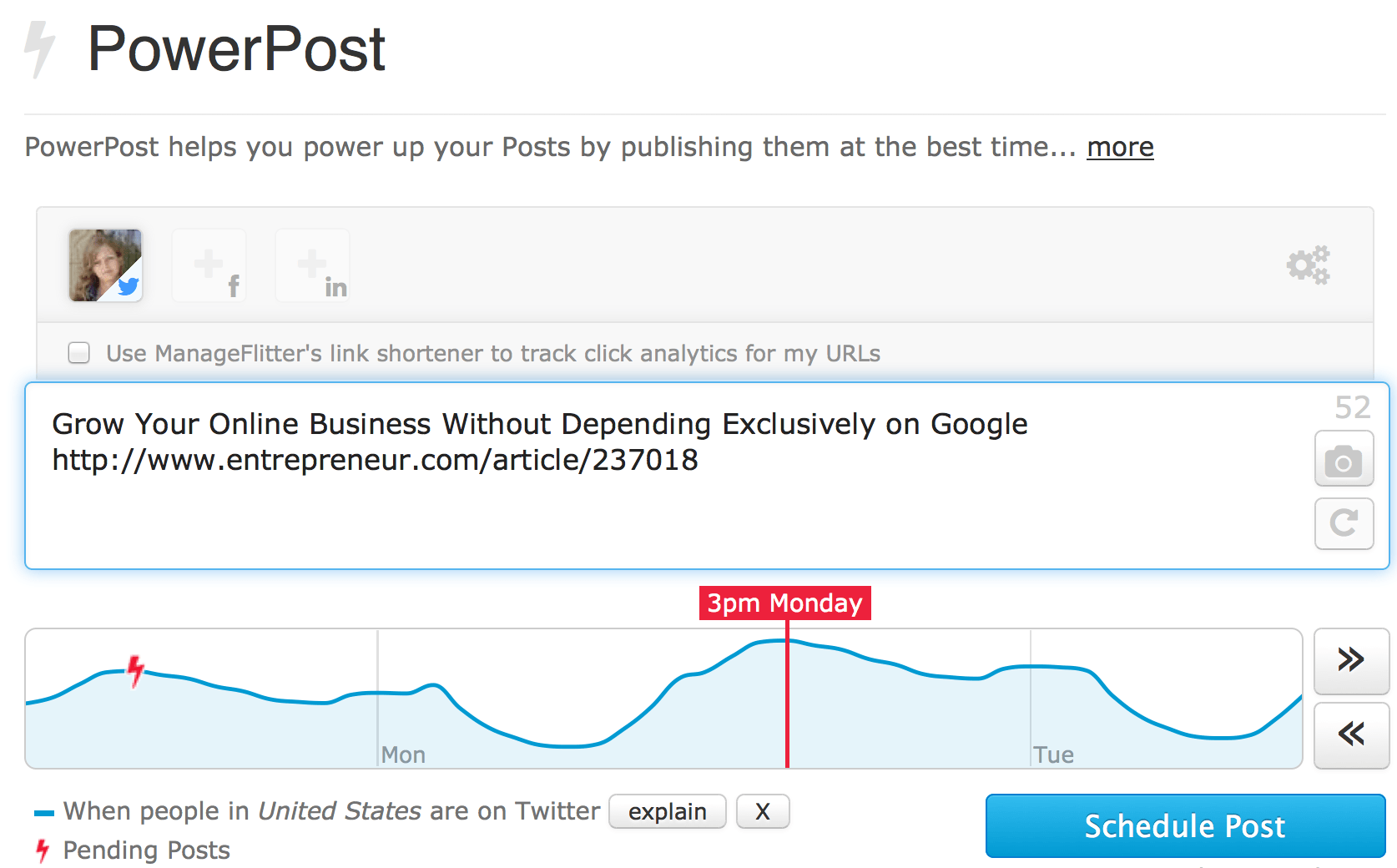 "Manage Flitter and its ""PowerPost"""
