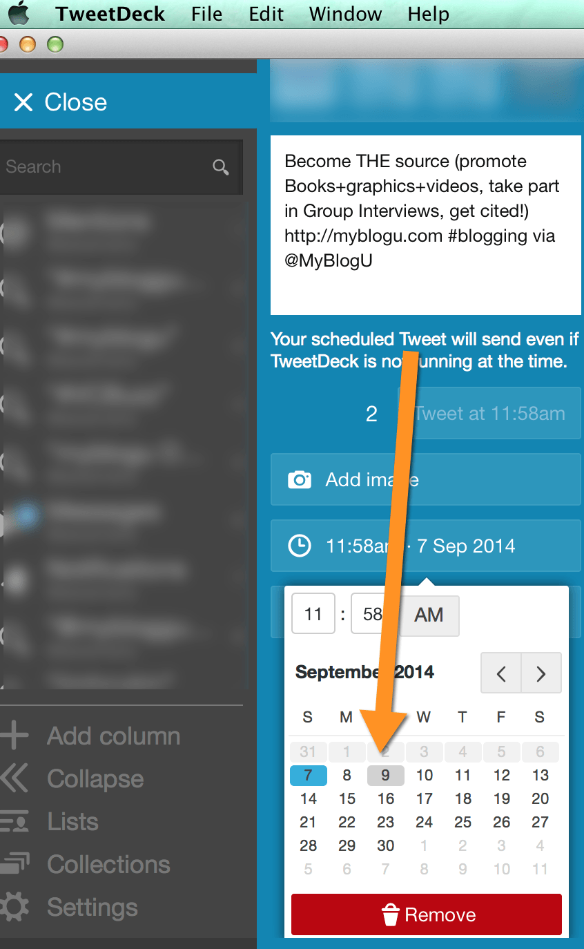 Tweetdeck schedule