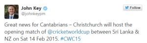 NZ PM Mr. John Key World Cup tweet