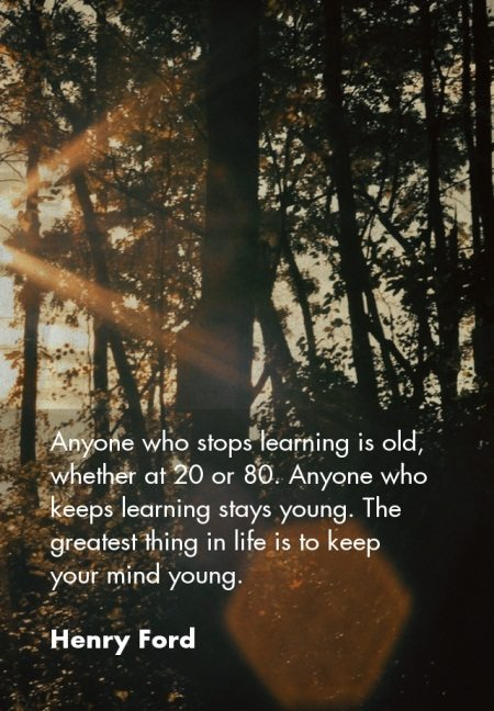 Anyone who stops learning is old, whether at 20 or 80. Anyone who keeps learning stays young. The greatest thing in life is to keep your mind young. - Henry Ford