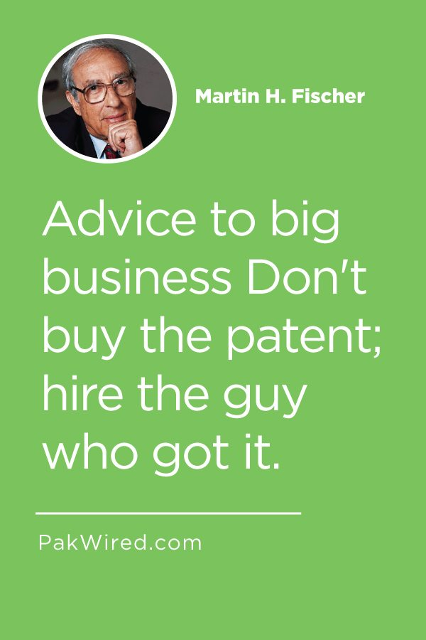 Advice to big business Don't buy the patent_ hire the guy who got it.