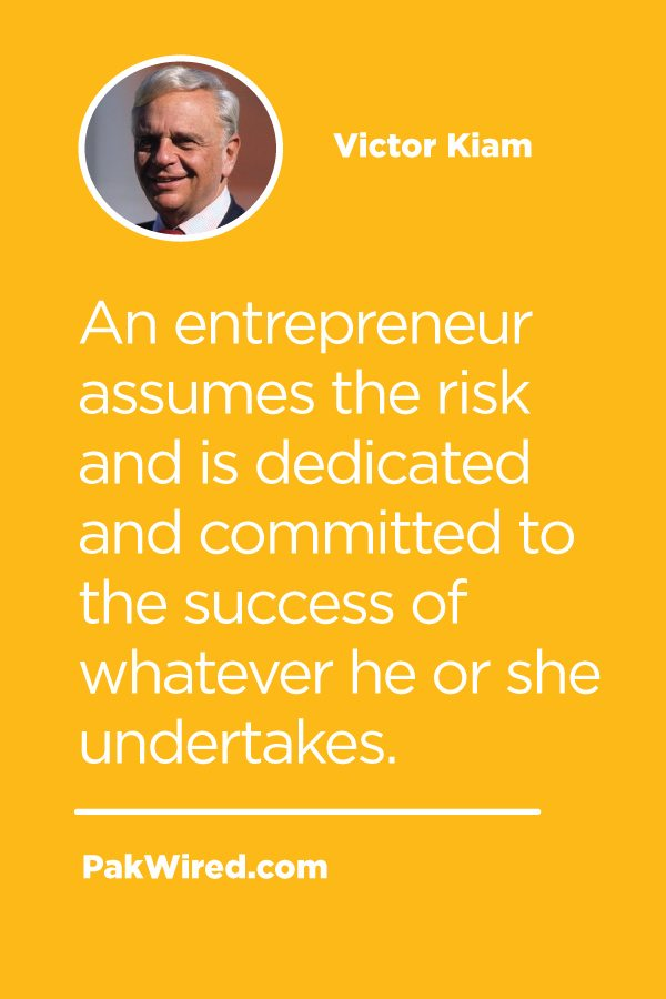 An entrepreneur assumes the risk and is dedicated and committed to the success of whatever he or she undertakes.