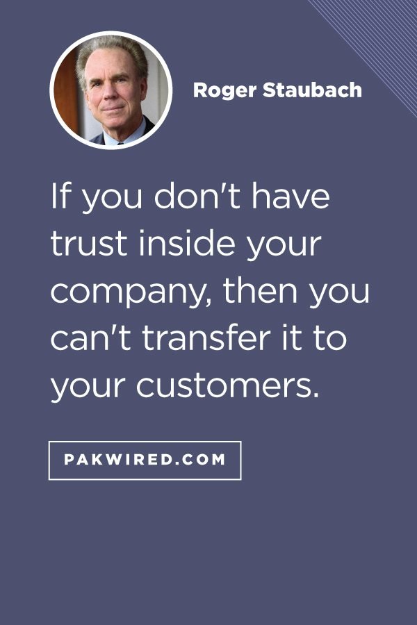 If you don't have trust inside your company, then you can't transfer it to your customers.