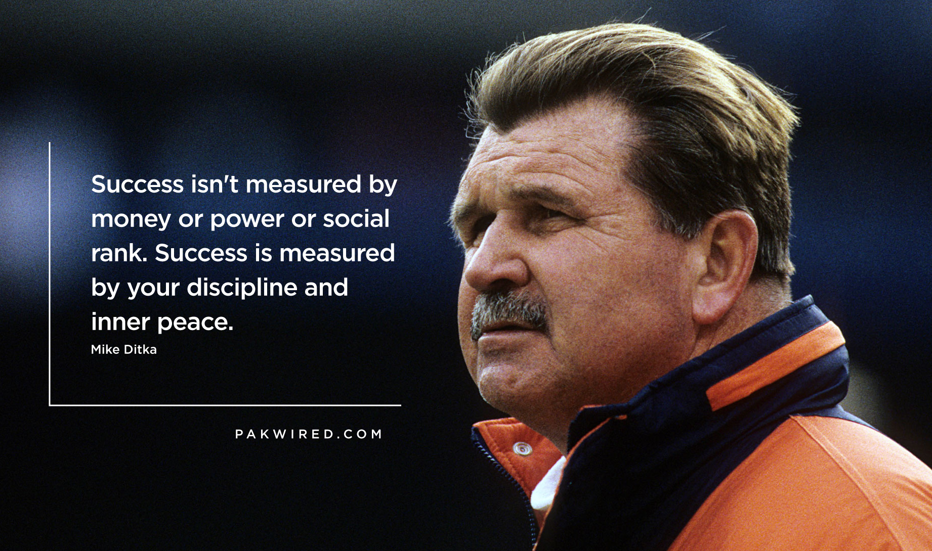 Success isn't measured by money or power or social rank. Success is measured by your discipline and inner peace.Mike Ditka