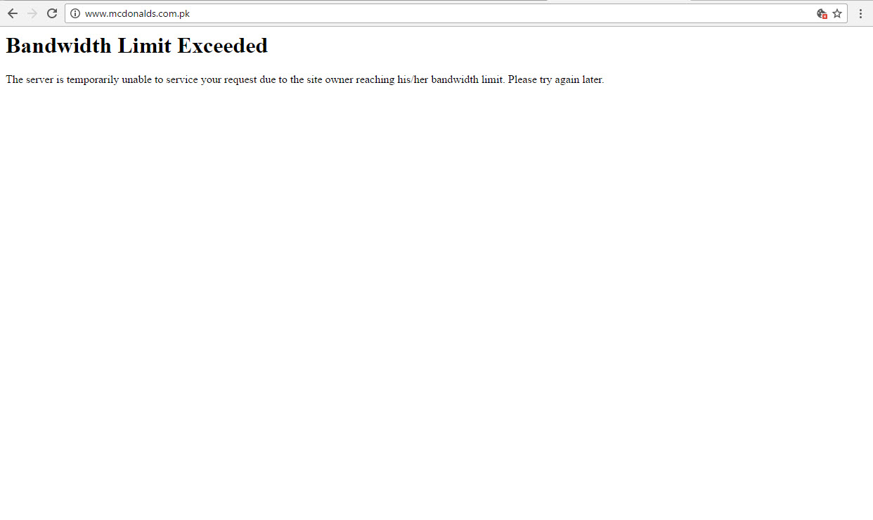 mcdonalds website down