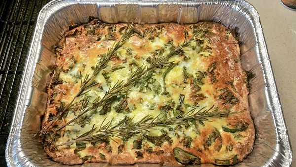 Crustless quiche with zucchini, kale, lemon, and rosemary