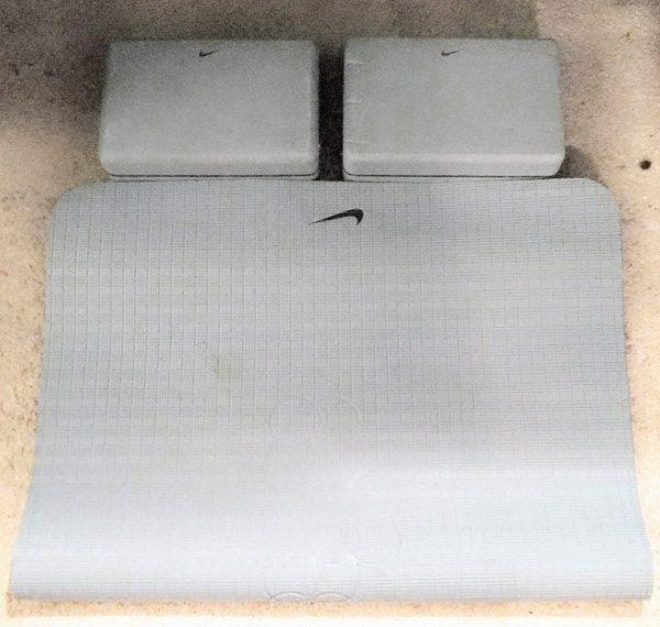 Yoga mat as a standing desk anti-fatigue mat