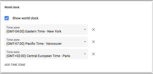 google calendar settings screenshot for world clock