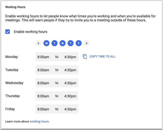 google calendar settings screenshot for working hours