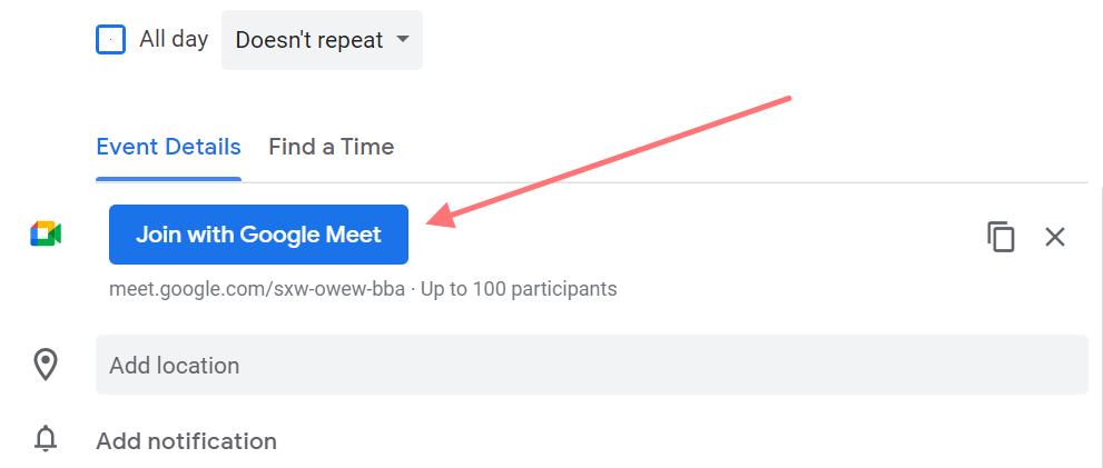 google calendar feature screenshot for video call