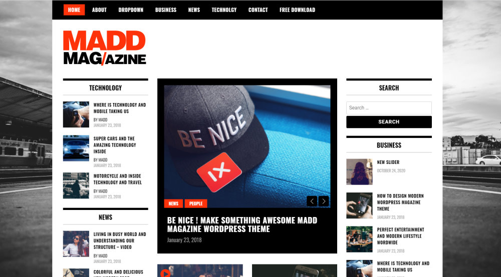 screenshot of madd magazine free wordpress theme